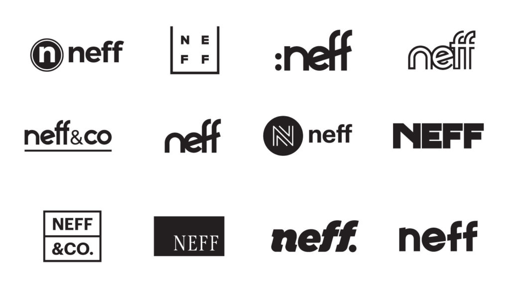 Potential logo solutions for the Neff agency rebrand