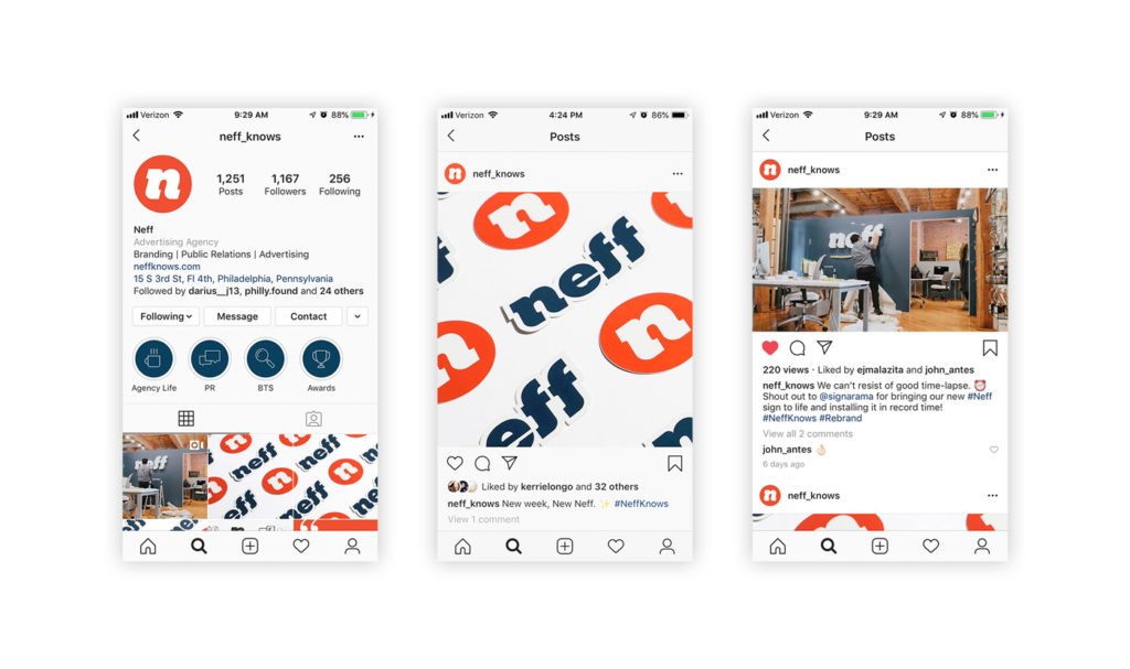 New social pages for the Neff rebrand
