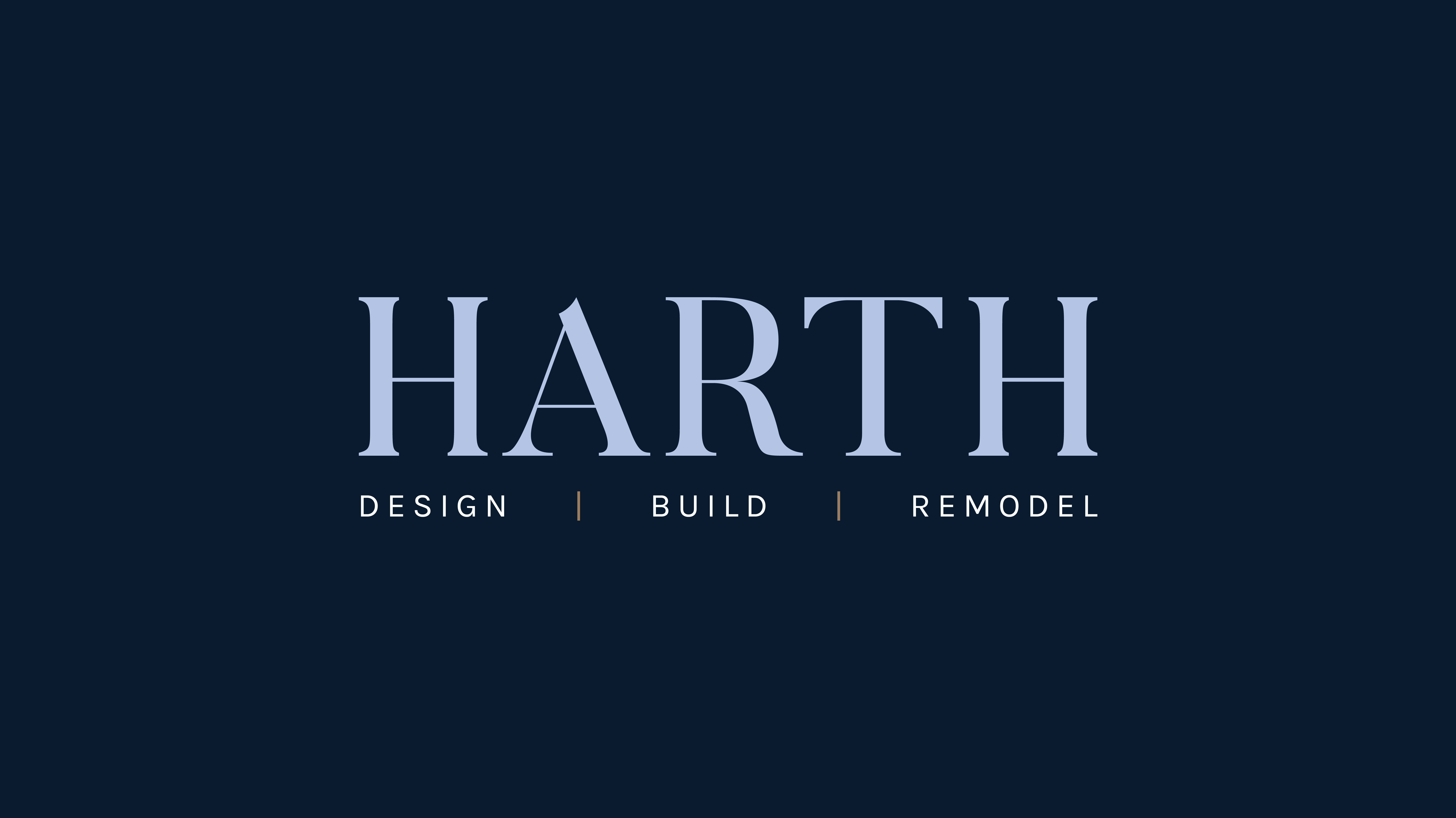 The logo for Harth Builders demonstrates the pairing of serif and sans serif fonts.