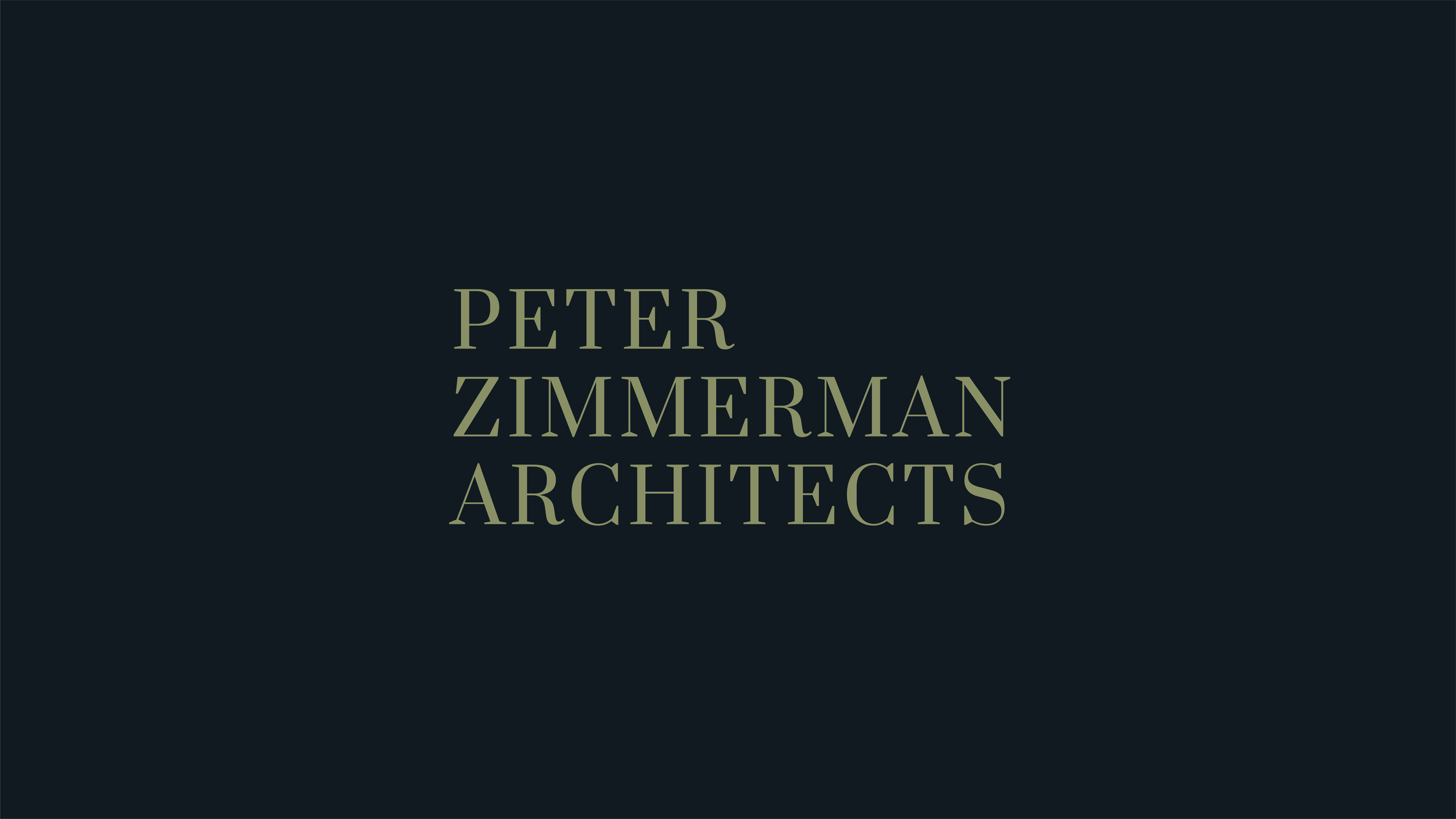 The secondary logo for Peter Zimmerman Architects demonstrates the use of a serif font.